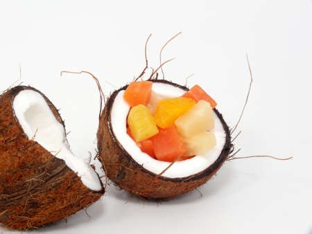 tropical fruit salad, in the coconut photo