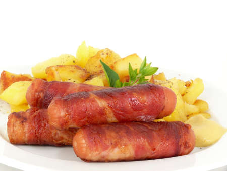 grilled Bernese bacon sausages with mustard and potatoes photo
