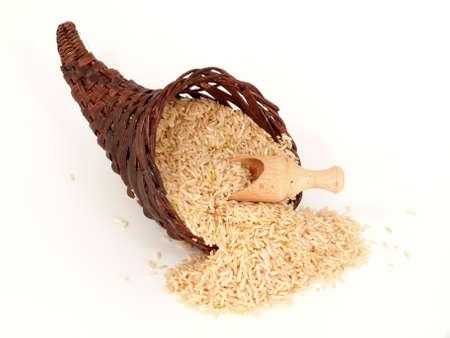 whole grain rice in the cornucopia Stock Photo - 9924689
