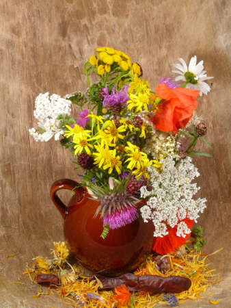 antique vase: flower selection by the wayside