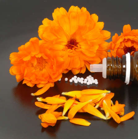 potency: globules and calendula Stock Photo