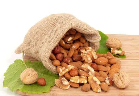 almond, walnut and jute bag photo