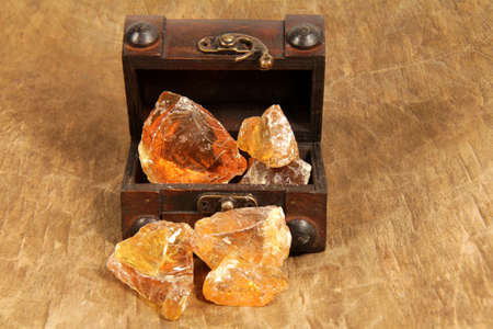 Frankincense: Frankincense resin in the treasure chest Stock Photo