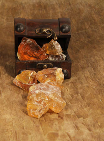 Frankincense resin in the treasure chest Stock Photo
