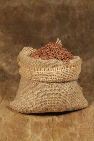 flax seed: Flax seed in jute bag Stock Photo
