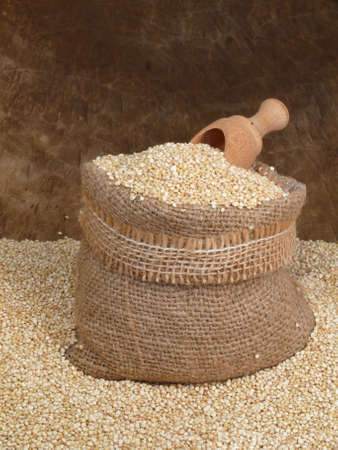 Quinoa in jute bag