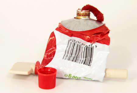 tomato paste: empty Tomato paste tube
