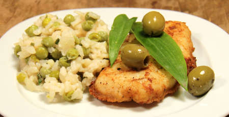 hake: hake menue with pear risotto Stock Photo