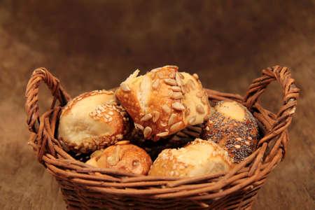 Pretzel rolls in a basket photo