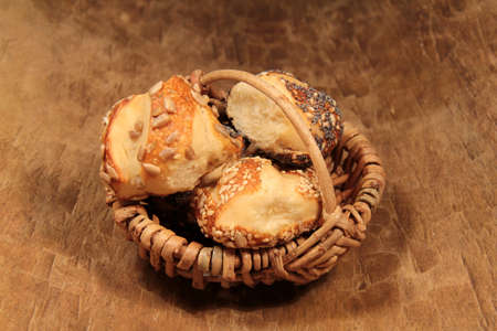 Pretzel rolls in a basket photo