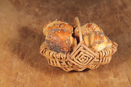 Pretzel rolls in a basket Stock Photo - 13711294
