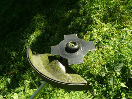 Brushcutter with a Brush blade in action    photo