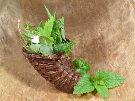 herbs wild: Hierbas salvajes en cesta