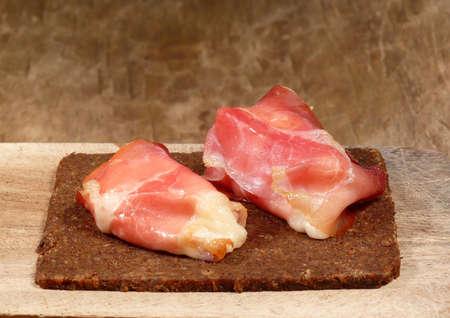 pumpernickel: ham rolls and Westphalian pumpernickel bread Stock Photo