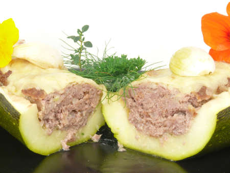 zucchini, stuffed with minced meat photo