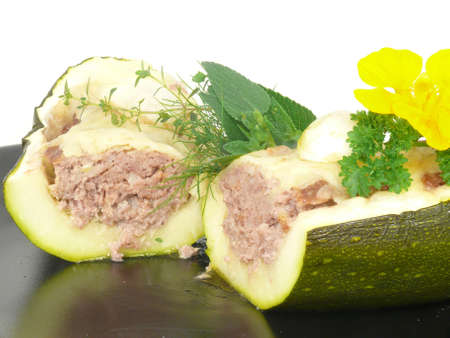zucchini, stuffed with minced meat