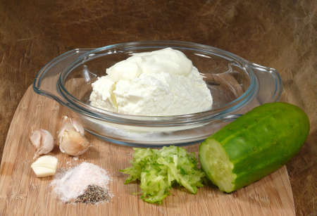 tzatziki: ingredients for tzatziki Stock Photo