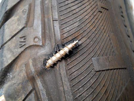 flatly: flat tyre Stock Photo