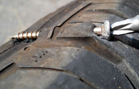 power operated: flat tyre Stock Photo