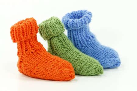 free plates: Small handmade wool socks from Grandma Hanna knitting