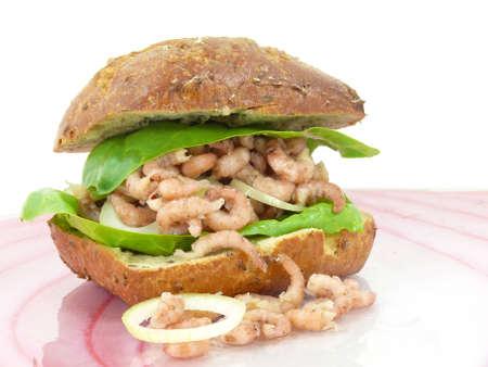 decapods: northh sea shrimp sandwiches Stock Photo
