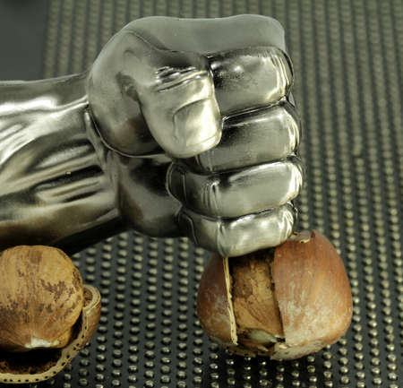 open nuts with the metal fist Standard-Bild