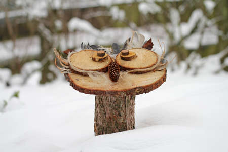 Handmade wood owls in the snow