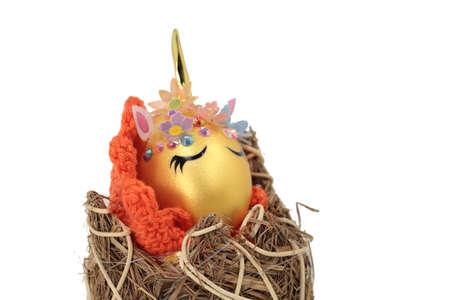 lovely egg with golden horn Standard-Bild
