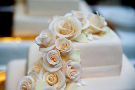 showpiece: Wedding cake with roses Stock Photo
