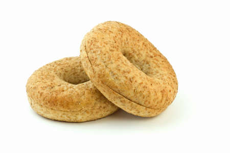 Body conscious low fat whole grain wheat bagels isolated on white background with copy space, in horizontal format Stock Photo