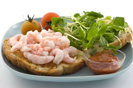 Toasted shrimp sandwich with pea sprouts cocktail sauce and cherry tomatoes on whole grain bread Stock Photo - 8160364