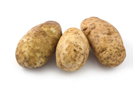 Russet potatoes isolated on white background