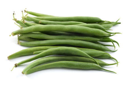 long bean: Bunch of raw bush beans isolated on white background