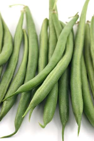 long bean: Bunch of raw bush beans in vertical format