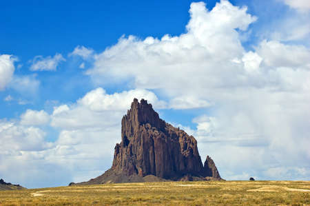The landmark of Shiprock in northwestern New Mexico is sacred to the Navajo people and known in their legends as  Stock Photo