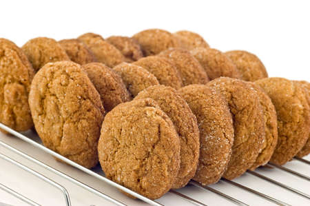 Ginger cookies on cooling rack Stock Photo