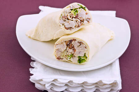 Chicken Caesar wrap in horizontal format Stock Photo