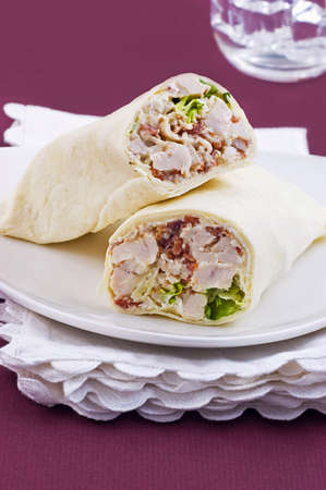 Chicken Caesar wrap in vertical format