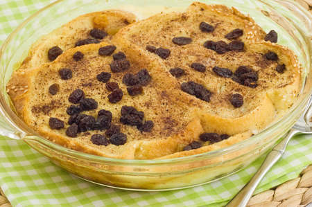 Homemade tasty bread pudding with raisins