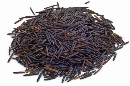 rice grain: Mound of raw wild rice isolated on white background Stock Photo