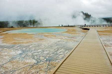 hydrothermal: Boardwalk around Grand Prismatic Spring in the Midway Geyser Basin, Yellowstone National Park, Wyoming, USA