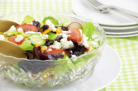 Fresh healthy garden salad with organic goat cheese Stock Photo