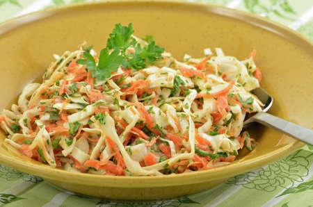 Traditional coleslaw with sweet cabbage, carrot, parsley and shallots in creamy tangy dressing Stock Photo