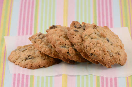 biscuit: Fresh baked oatmeal and raisin cookies Stock Photo