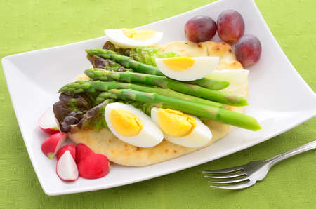 Hard boiled egg and asparagus salad on Naan bread