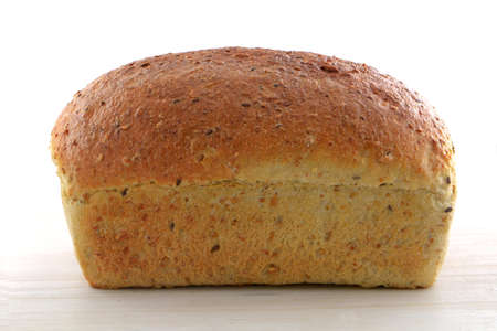 Home made multigrain loaf of bread in horizontal format