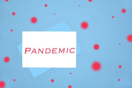 Pandemic notecard on blue background illustrating emergency communication to general public