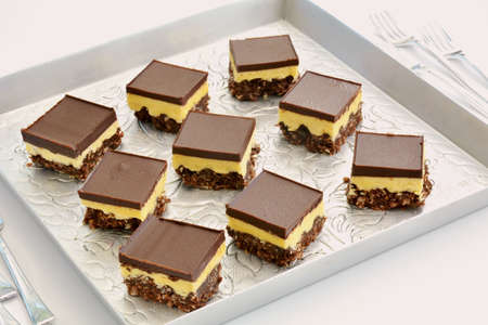 Fresh baked Nanaimo bars on vintage embossed metal tray and tiny forks in horizontal format. Reklamní fotografie