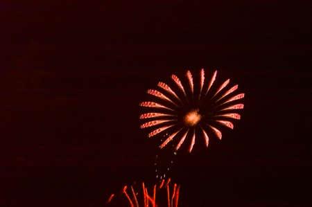Vuurwerk in de vorm van een bloem.
