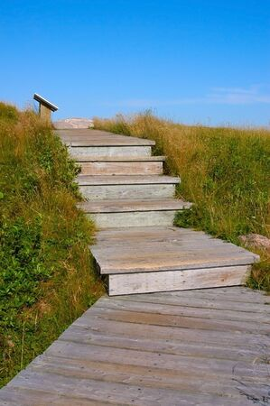 A flight of five wooden plank stairs climbing into a deep blue sky.